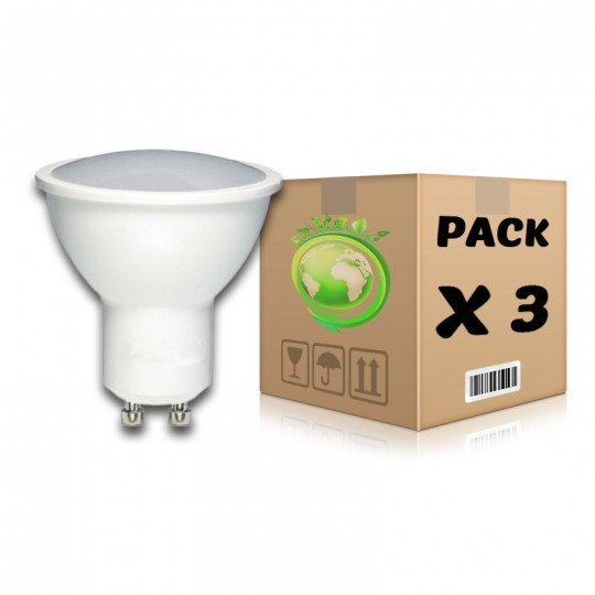 PACK Bombillas LED GU10 7W 4500K x 3 uds
