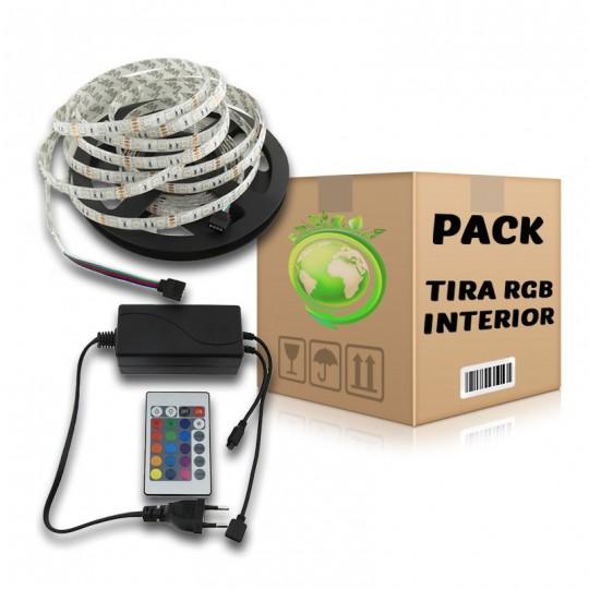 PACK Tira LED SMD 5050 RGB 5 metros Uso Interior